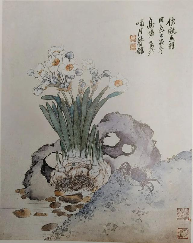 Narcissus, Crab and Stone in the manner of Yun Shouping 仿恽寿平水仙蟹石