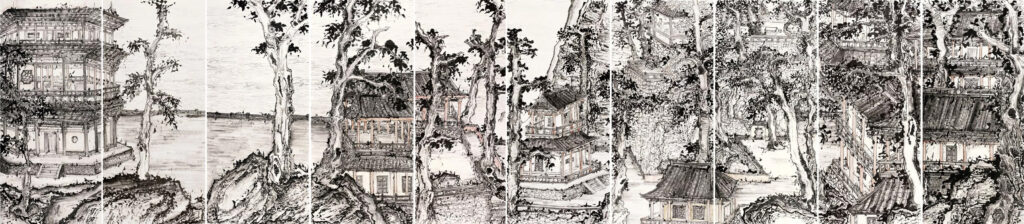 Lin Haizhong 林海钟, discourses on Chinese painting The Great Sight of Qian Tang River 250cmx1200cm