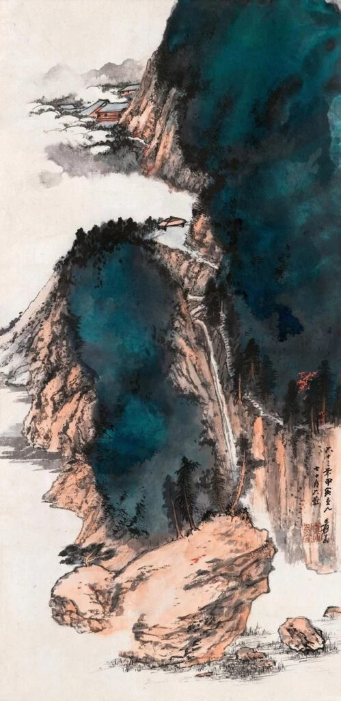 Zhang Daqian, Splashed-ink Mountain and water 《泼墨山水》 The Image Colour in Chinese Painting