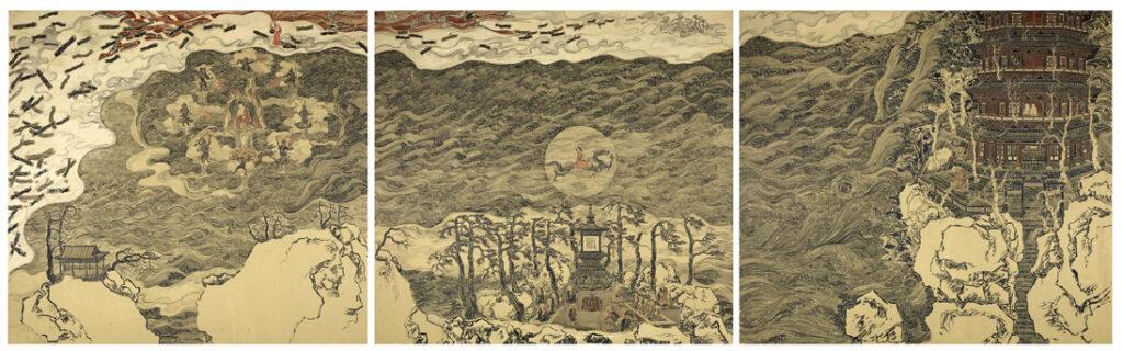 Three sections of Daoji Ji Gong Hall mural Lin Haizhong 林海钟, discourses on Chinese painting