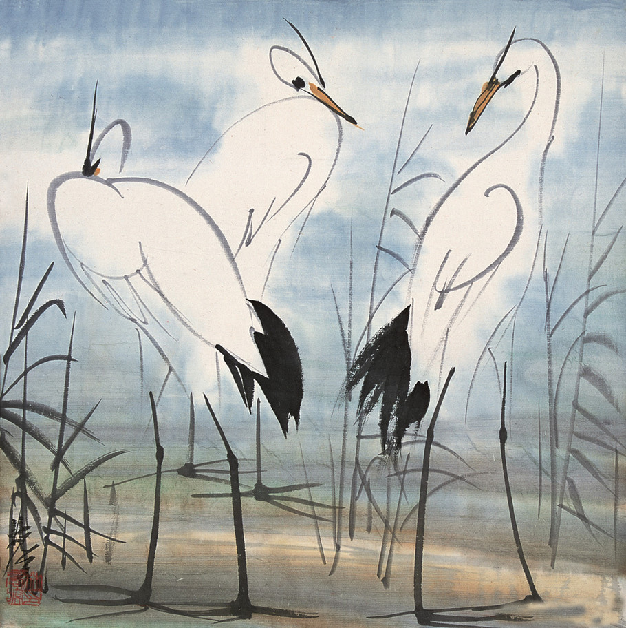 Lin Fengmian,  Different Thinking in One Harmony 《三思》35x35 The Image Colour in Chinese Painting