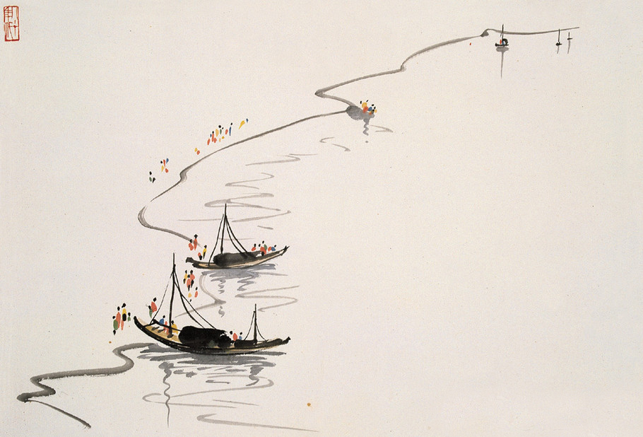 Wu Guanzhong, By the Lakeside 《湖边》 55.5x68 The Image Colour in Chinese Painting