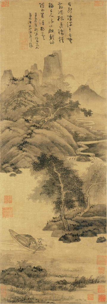 Reclusive culture in Chinese Mountain and Water painting Wu Zhen 吴镇 (1280-1354), Fisherman 《渔父图》