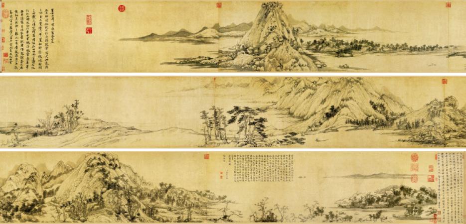 Reclusive culture in Chinese Mountain and Water painting Huang Gongwang 黄公望 (1269-1358) Dwelling in the Fu Chun Mountains, Fuchunshan ju tu (Master Wuyong Scroll) 《富春山居图-无用师全卷》